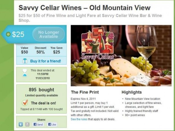savvy cellar groupon group deal